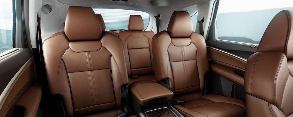 2019 mdx interior with second row captains chairs in tan leather
