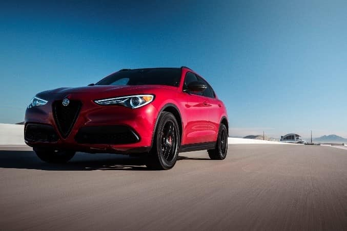 low angle shot of a red 2019 Alfa Romeo Stelvio
