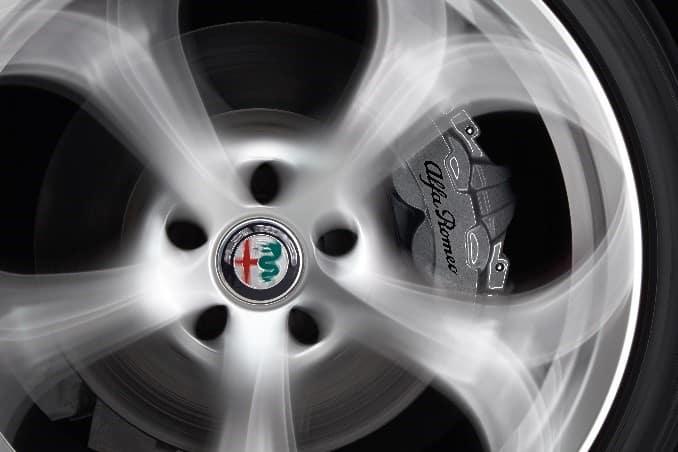Silver Alfa Romeo Giulia brake caliper