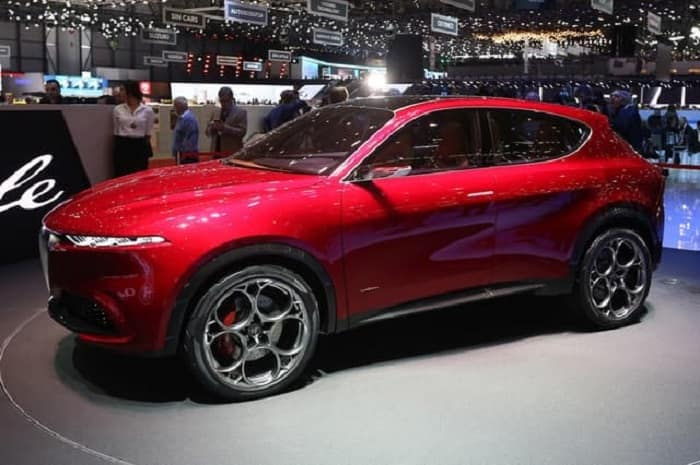 All-new red Alfa Romeo Tonale crossover SUV plug-in hybrid concept vehicle on display at the 2019 Geneva Motor Show
