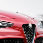 closeup picture of the front end of a red 2021 Alfa Romeo GTV concept sports car