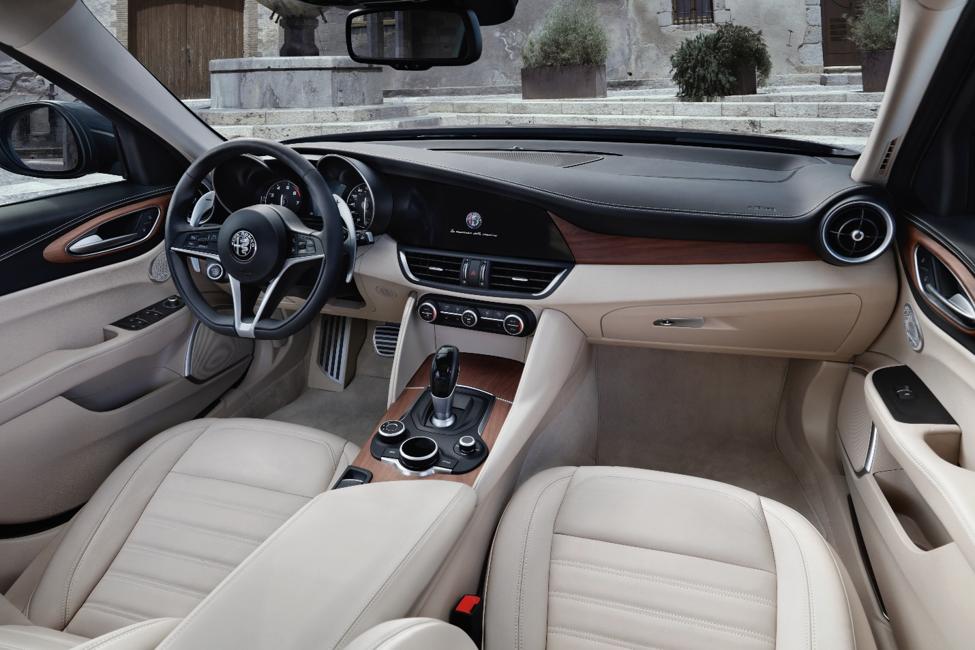 Alfa Romeo Giulia tan leather interior with brown accent color