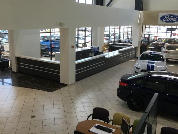 Inside the showroom of a Des Plaines Ford dealership