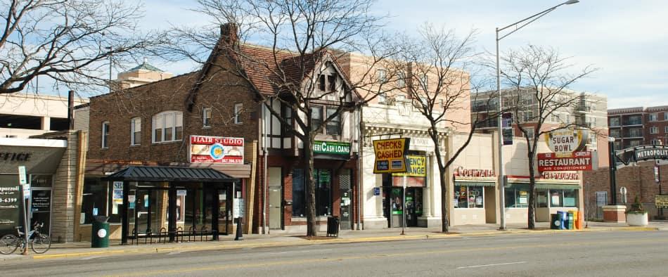view of downtown Des Plaines IL