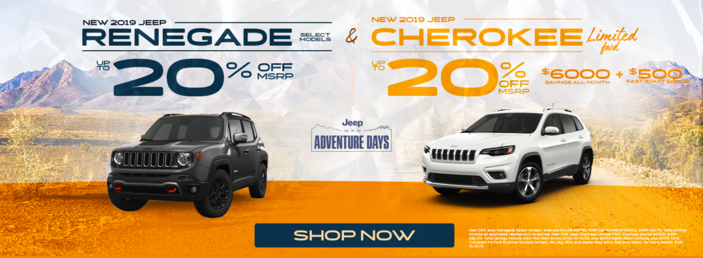 New 2019 Jeep Renegade and Jeep Cherokee Sale