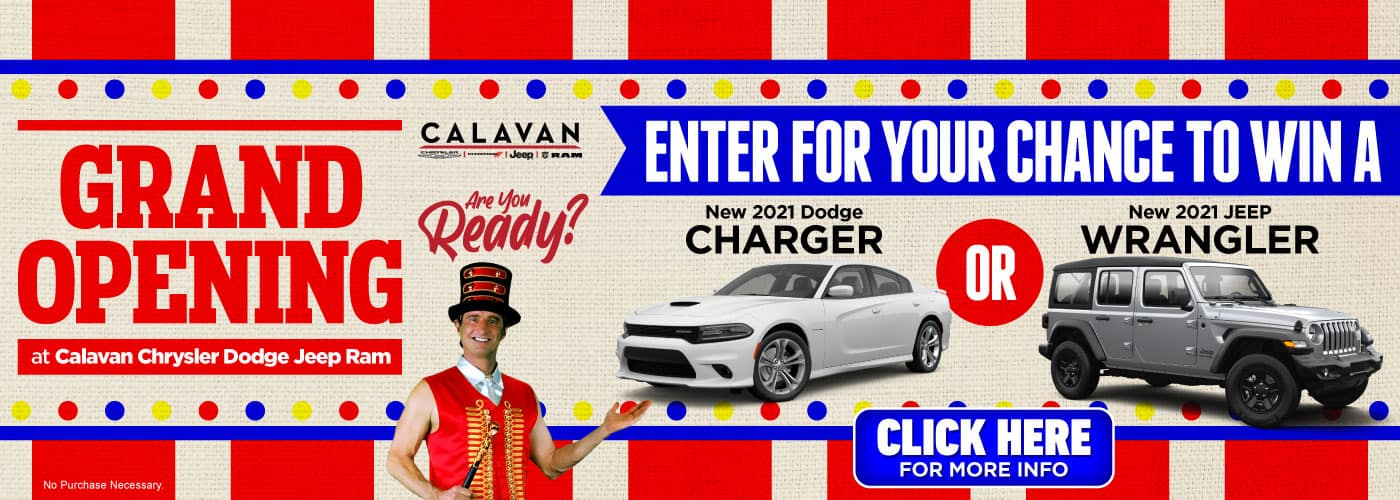 Enter for Your Chance to Win a New 2021 Dodge Charger OR New 2021 Jeep Wrangler - Click Here for More Info