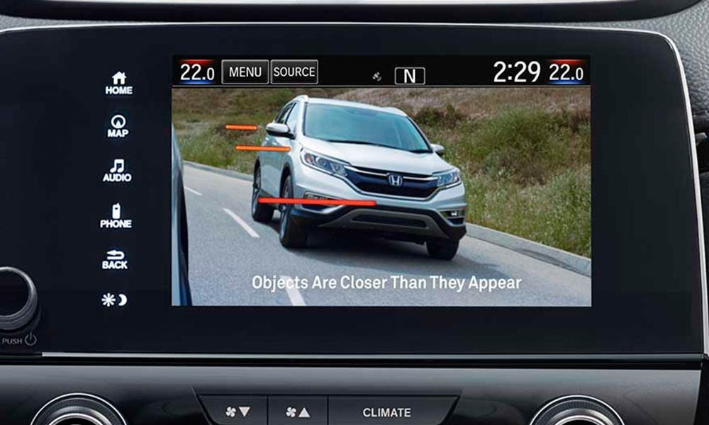 Honda LaneWatch on the 2017 Honda Accord displays 4 times the area than the passenger mirror alone.