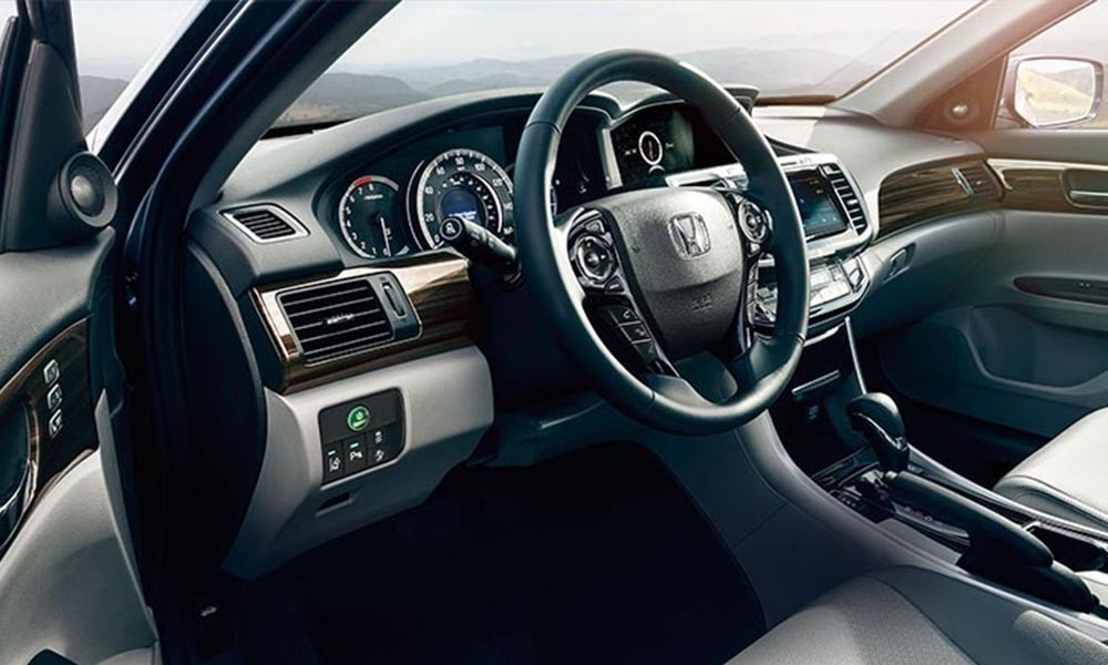 2017 Honda Accord sophisticated interior with available wood trim.