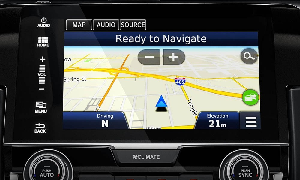 Knnow Your Way in the Honda Civic with the Satellite-Linked Navigation System.