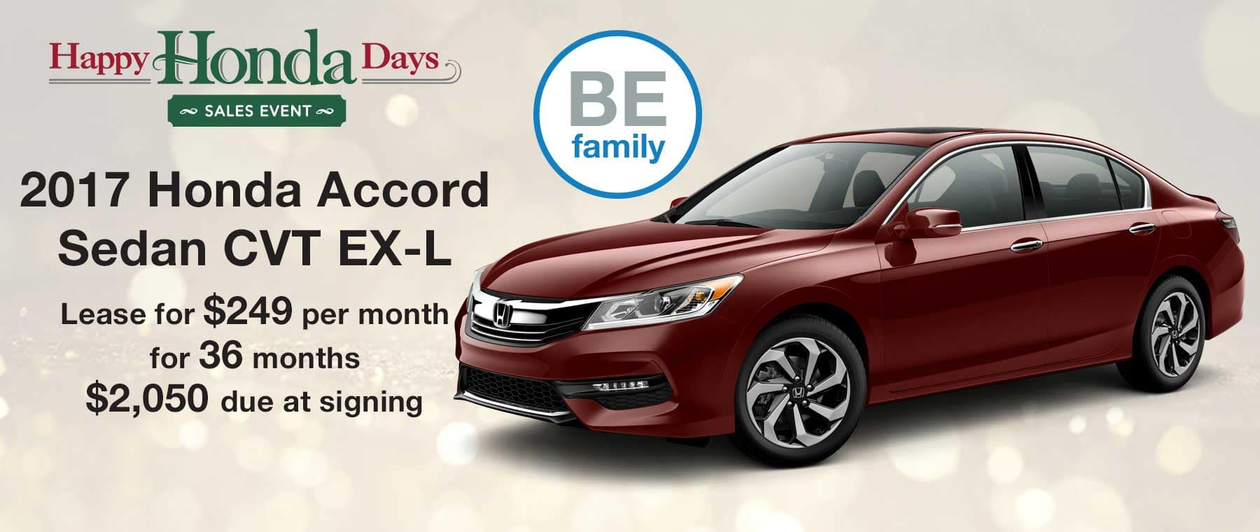 Lease a new 2017 Honda Accord Sedan for $249 per month with $2,050 due at signing
