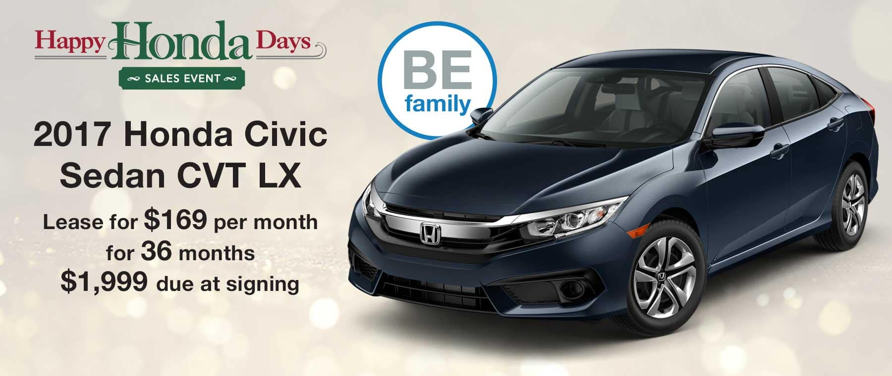 Lease a new 2017 Honda Civic Sedan for $169 per month with $1,999 due at signing