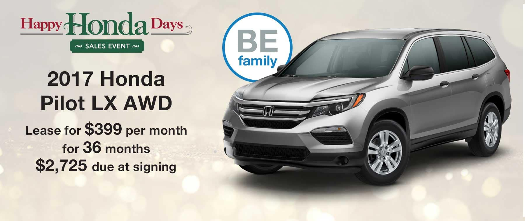 Lease a new 2017 Honda Pilot LX AWD for $399 per month with $2,725 due at signing
