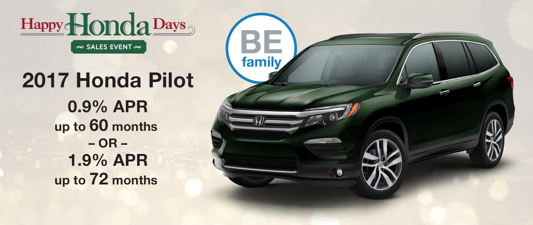 Finance a new 2017 Honda Pilot with 0.9% APR up to 60 months