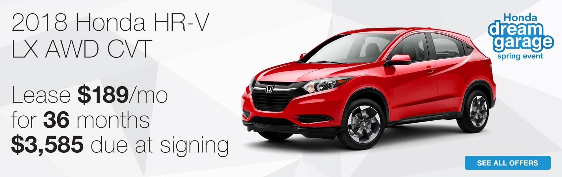 Lease a new 2018 Honda HR-V LX AWD for $189 per month with $3,585 due at signing