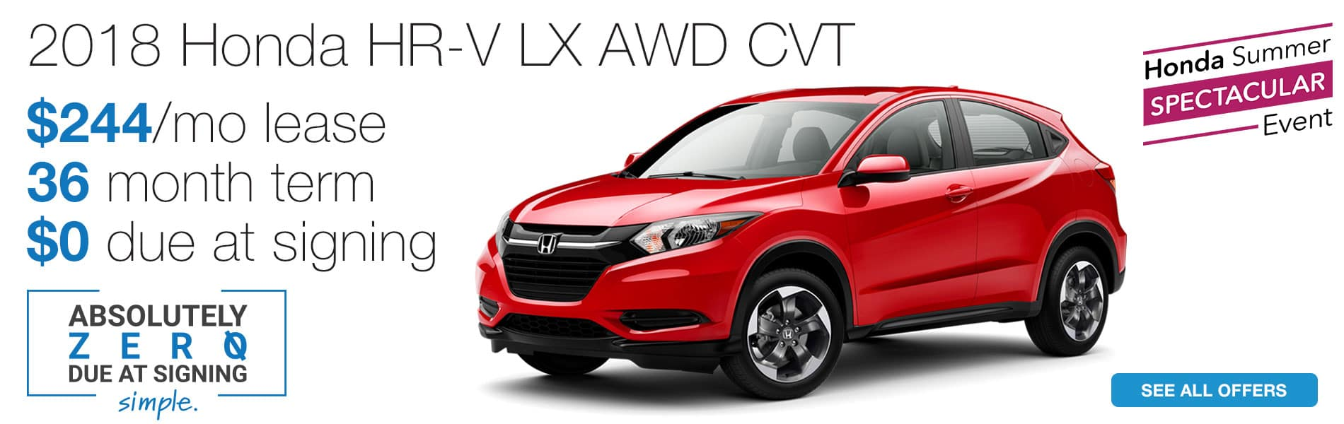 Lease a 2018 Honda HR-V LX AWD CVT for $244 per month with absolutely $0 due at signing