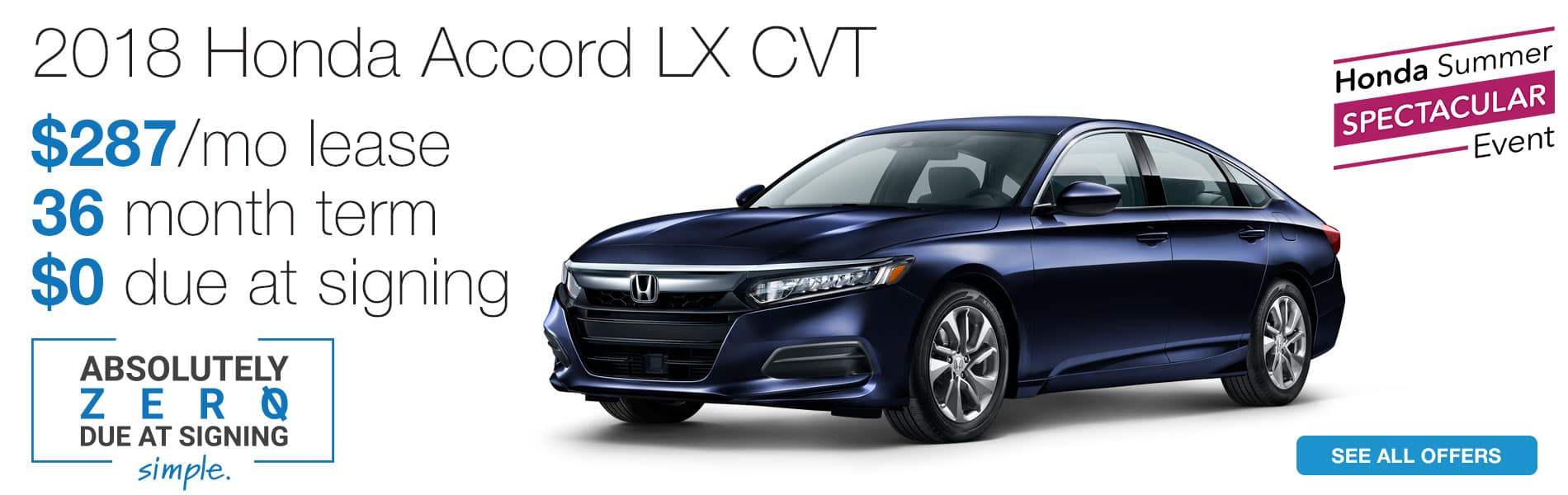 Lease a 2018 Honda Accord LX CVT for $287 per month with absolutely $0 due at signing