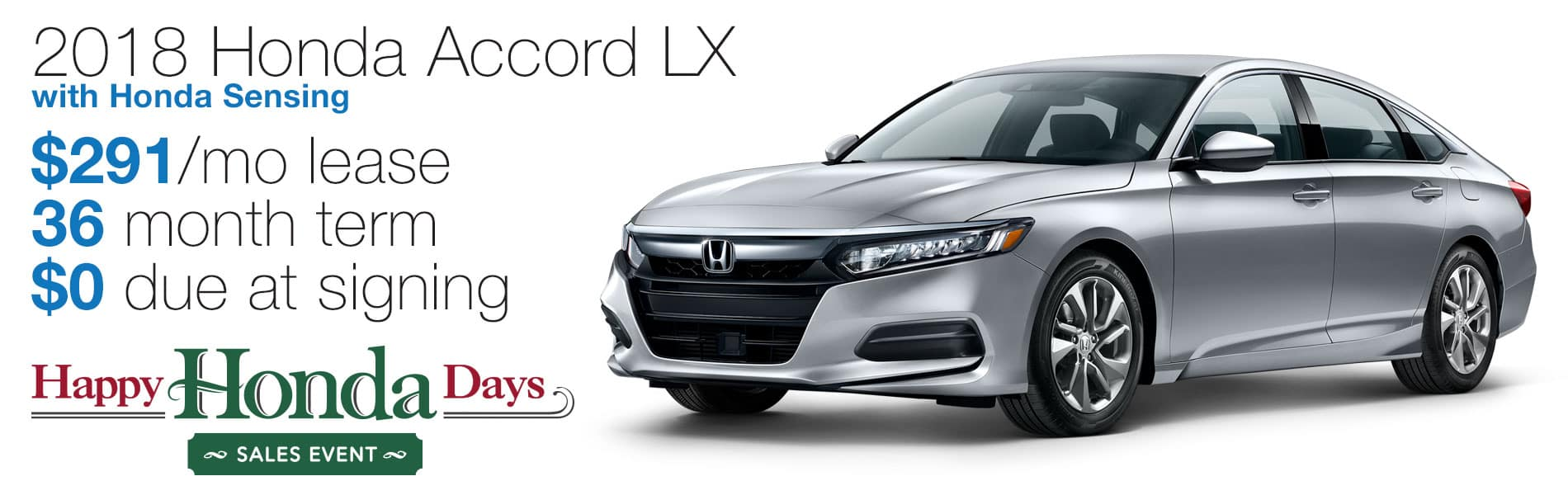 Lease a 2018 Honda Accord LX for $291 per month lease with $0 due at signing