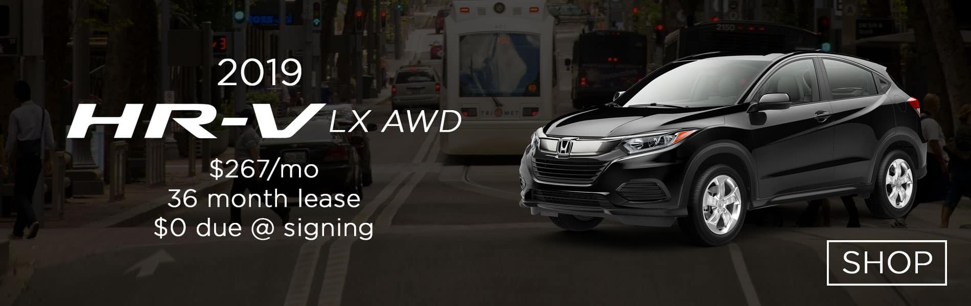Lease a 2019 Honda HR-V LX AWD for $267 per month lease with $0 due at signing