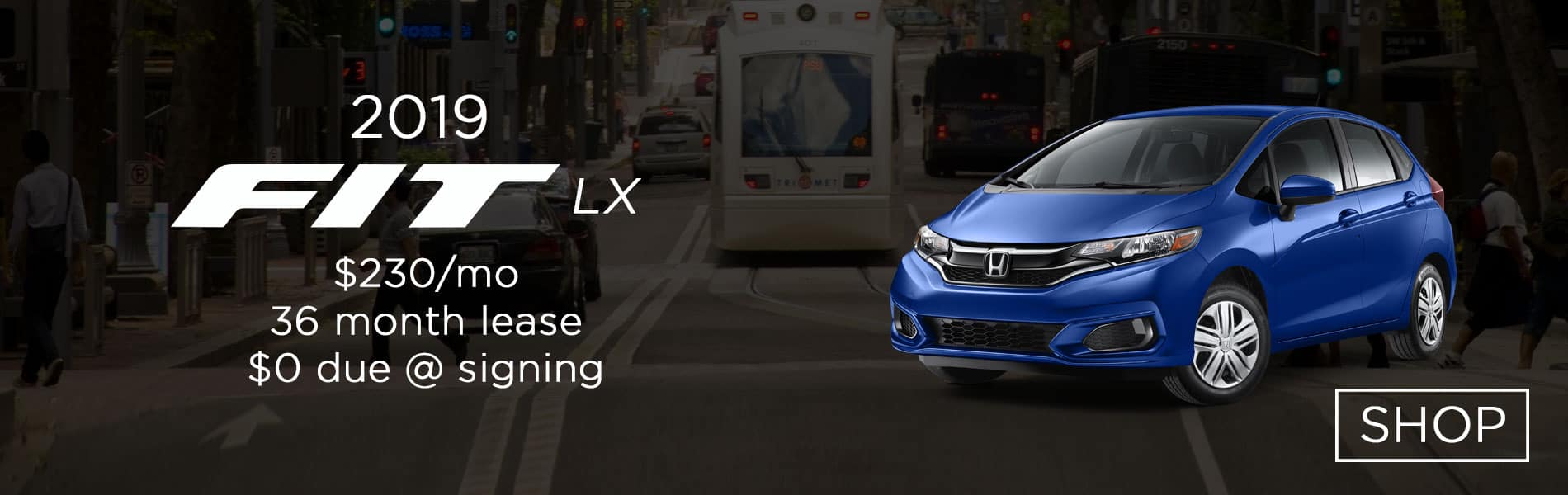 Lease a 2019 Honda Fit LX for $230 per month lease with $0 due at signing