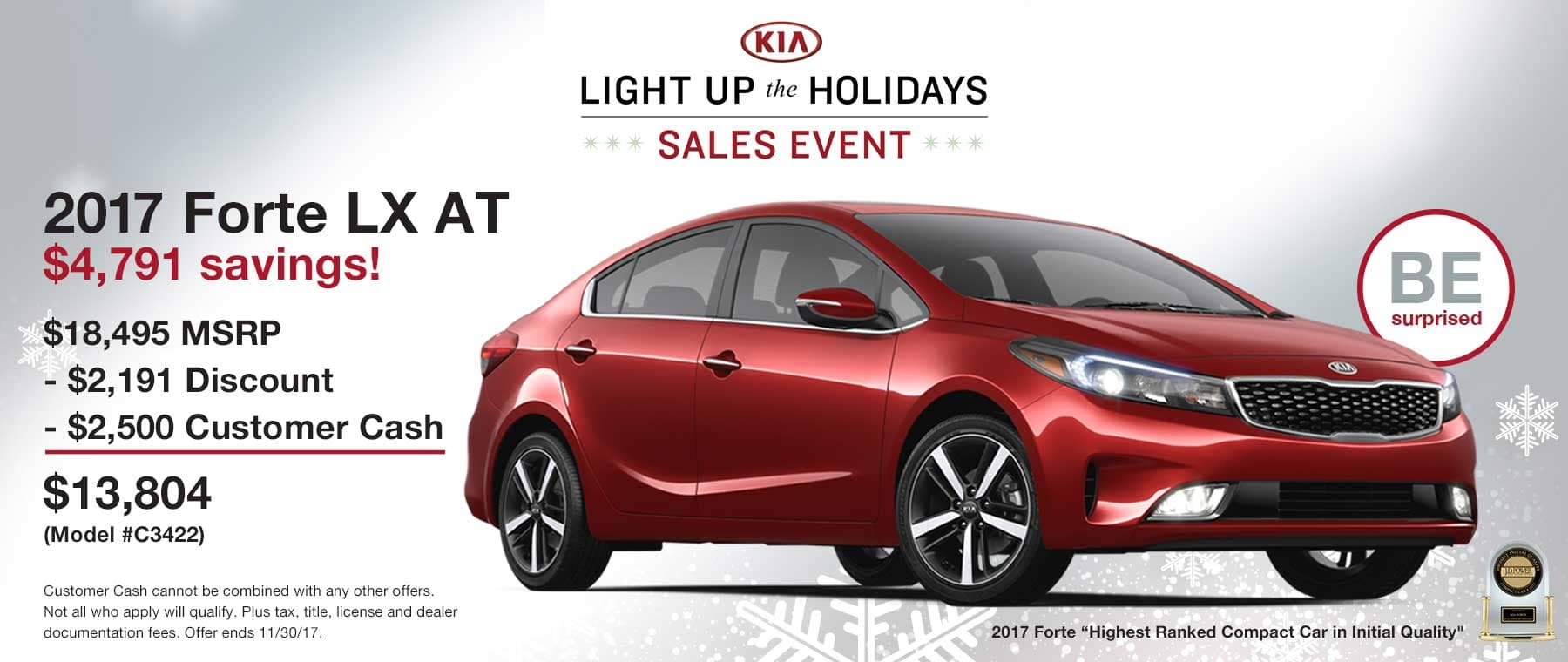 $4,791 toal in savings on a new 2017 Kia Forte LX Automatic
