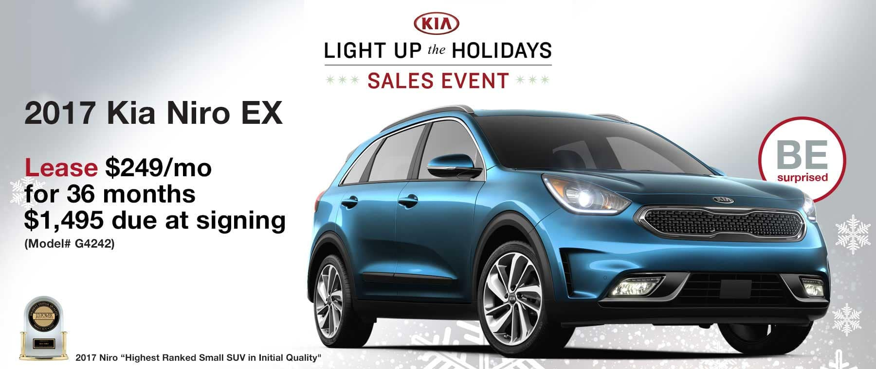 Lease a new 2017 Kia Niro EX for $249 per month with $1,495 due at signing.