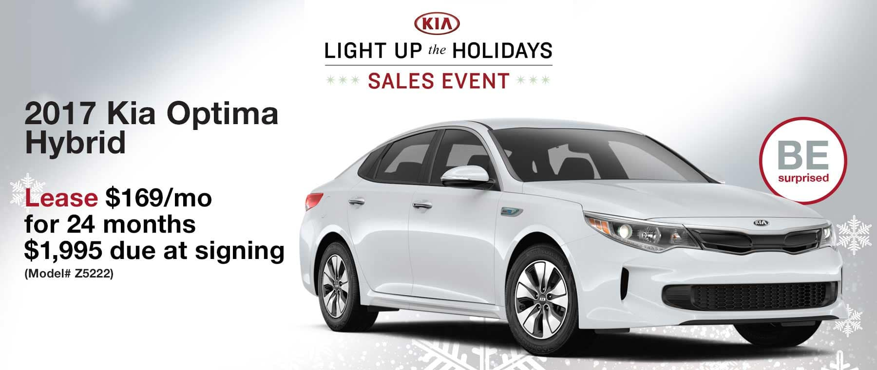 Lease a 2017 Optima Hybrid for $169 per month with $1,995 due at signing.