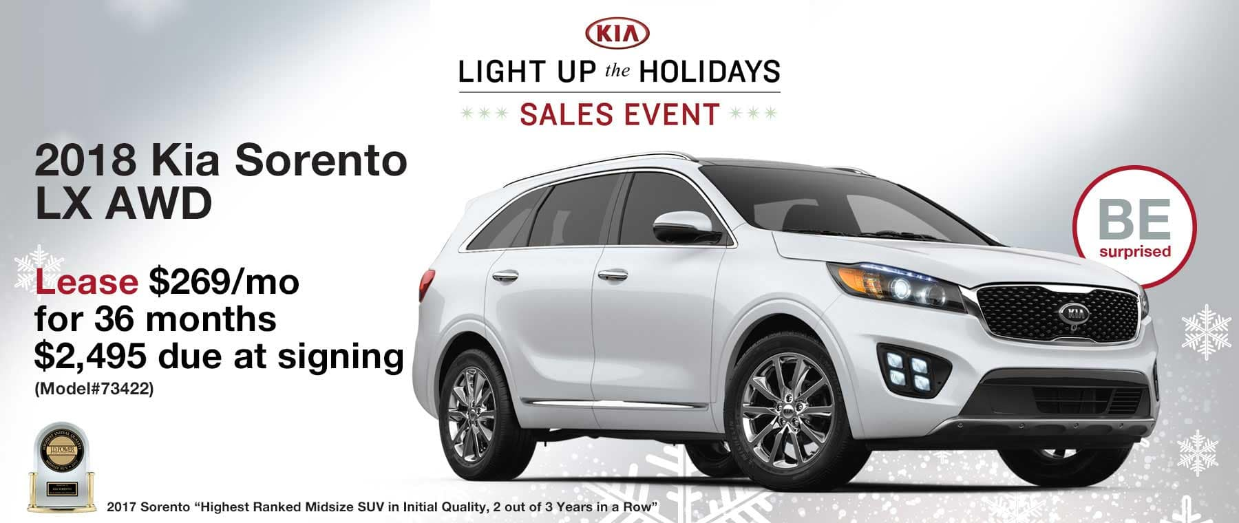 Lease a new 2018 Kia Sorento LX AWD for $269 per month with $2,495 due at signing.