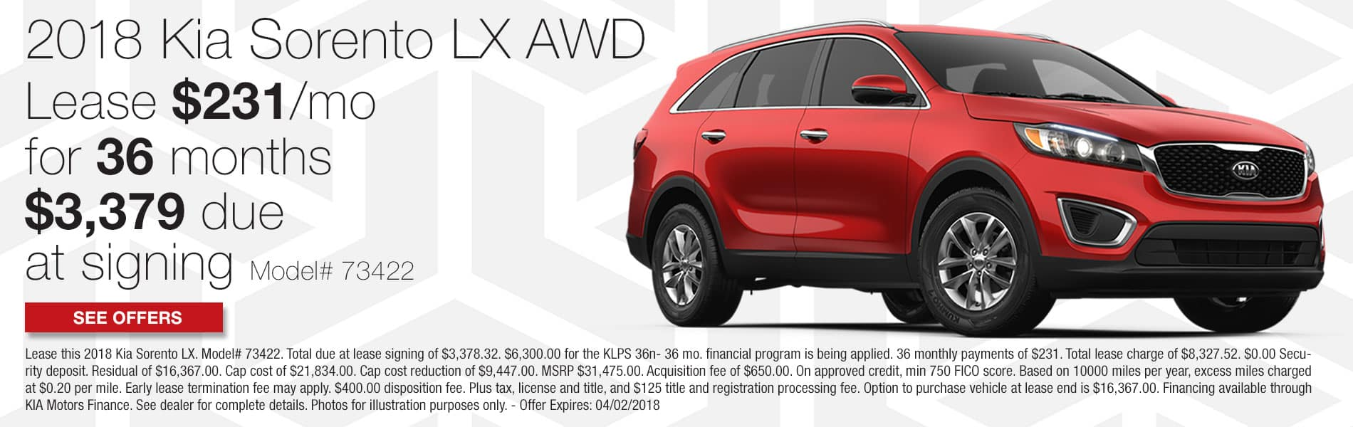 Lease a new 2018 Kia Sorento LX AWD for $231 per month with $3,379 due at signing
