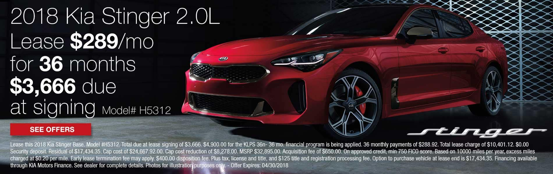Lease a new 2018 Kia Stinger Base for $289 per month with $3,666 due at signing