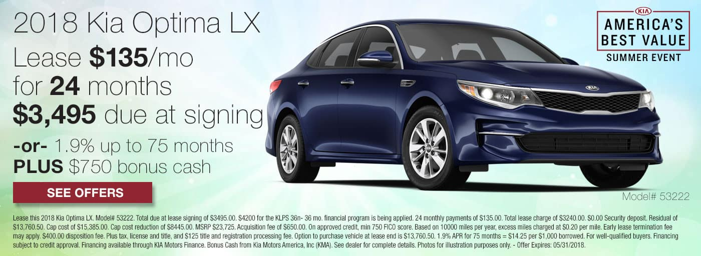 Lease a 2018 Kia Optima LX for $135/mo for 24 months with $3,495 down or 1.9% APR up to 75 months plus $750 bonus cash.