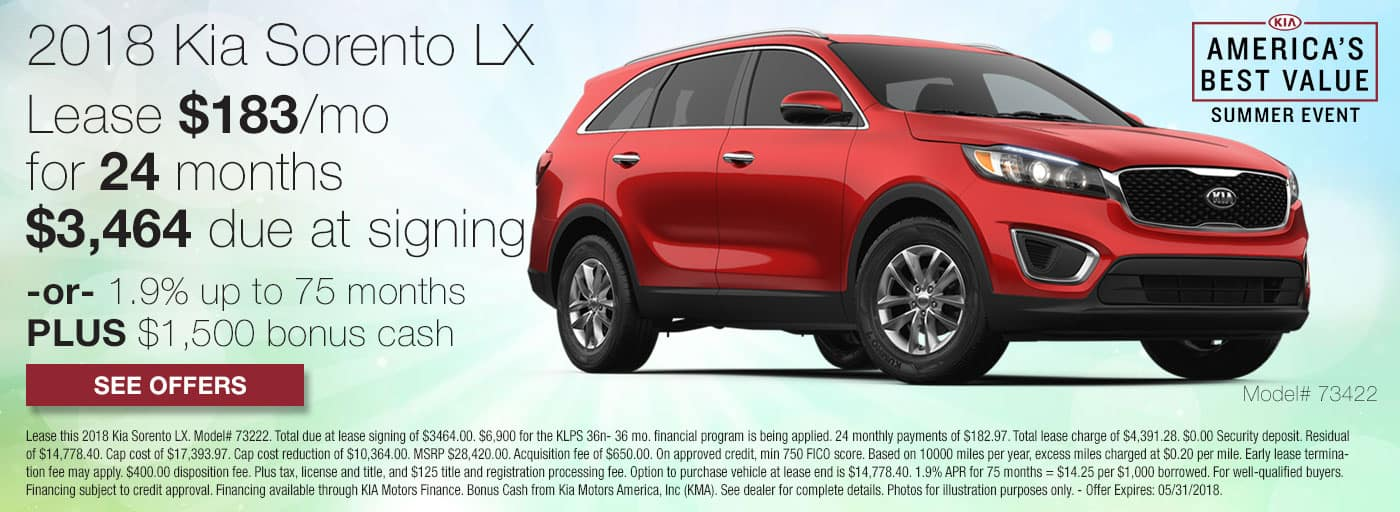 Lease a 2018 Kia Sorento LX for $183/mo for 24 months with $3,464 down or 1.9% APR up to 75 months plus $1,500 bonus cash.