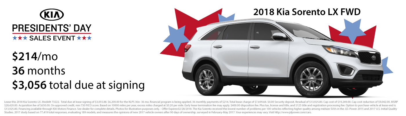 Lease a new 2018 Kia Sorento LX FWD for $214 per month with $3,056 due at signing