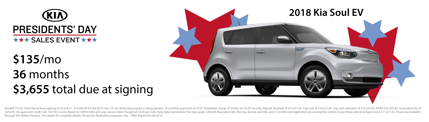 Lease a new 2018 Kia Soul EV for $135 per month with $3,655 due at signing