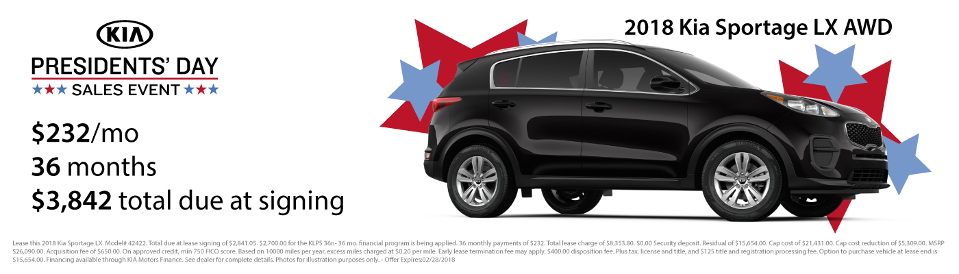 Lease a new 2018 Kia Sportage LX AWD for $232 per month with $3,842 due at signing