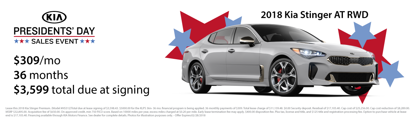 Lease a new 2018 Kia Stinger for $309 per month with $3,599 due at signing
