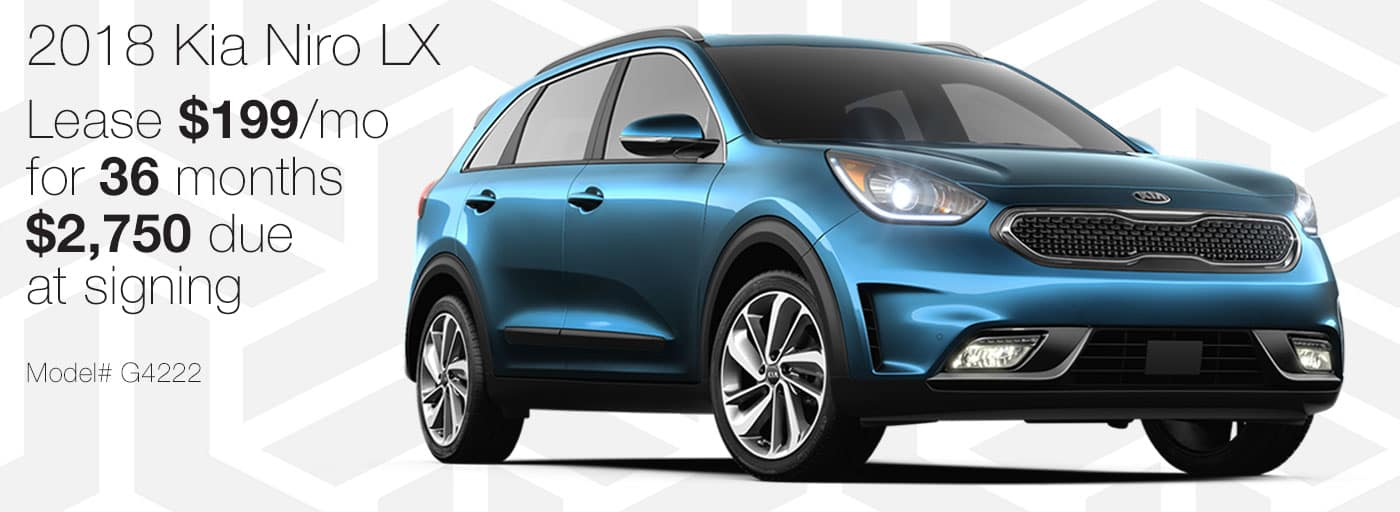 Lease a new 2018 Kia Niro LX for $199 per month with $2,750 due at signing