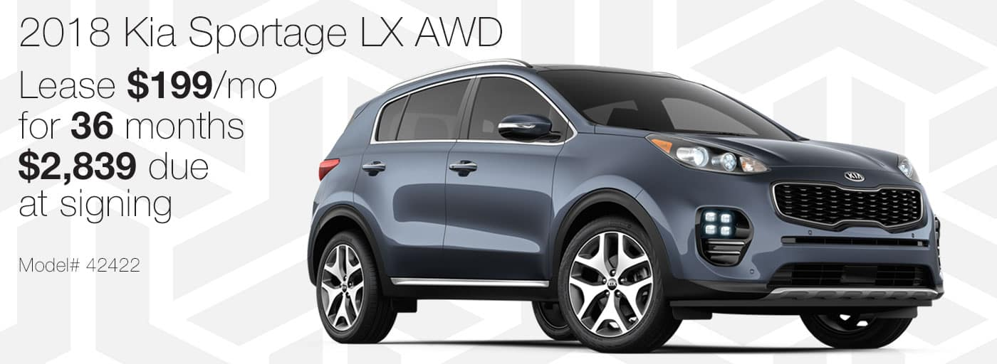 Lease a new 2018 Kia Sportage LX AWD for $199 per month with $2,839 due at signing