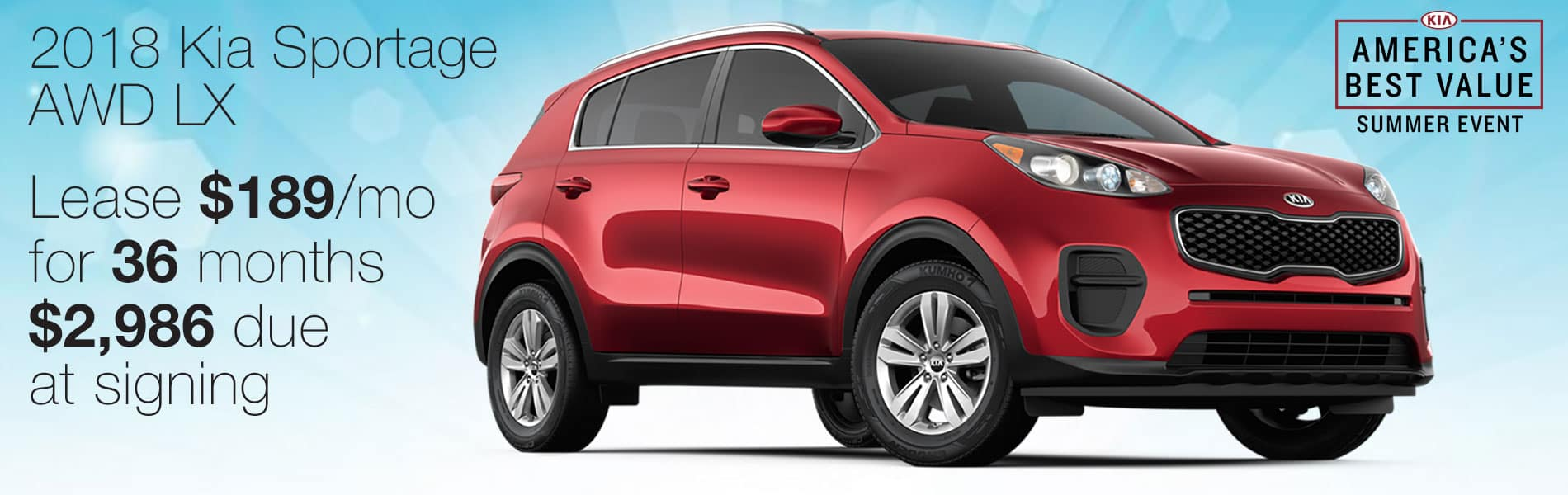 Lease a Sportage AWD LX for $189 per month with $2,986 due at signing