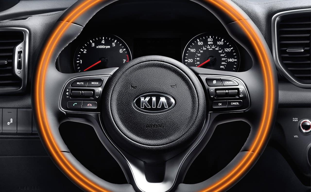 Stay warmer with the available heated steering in the Kia Sportage