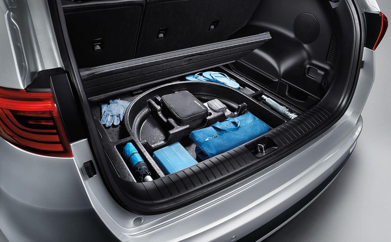 Hidden Storage in the back cargo area of the 2019 Kia Sportage