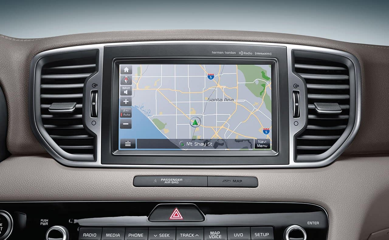 8 inch touch screen navigation in the 2019 Kia Sportage