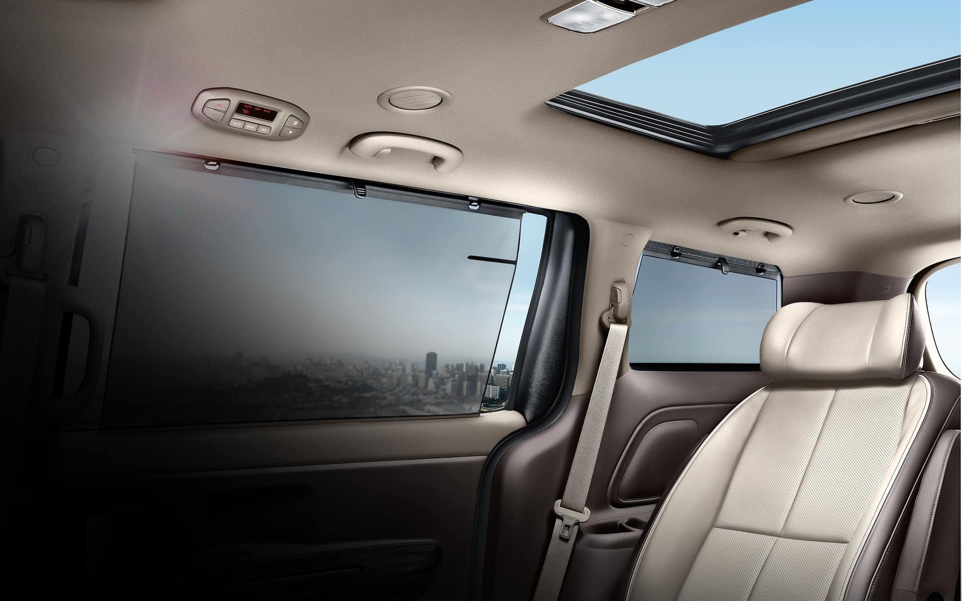 2018 Kia Sedona available Second- and Third-Row Retractable Sunshades