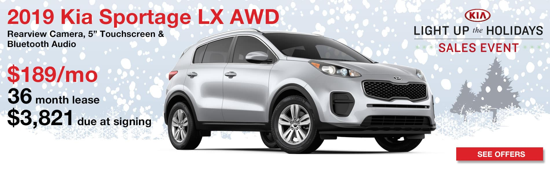 Lease a 2019 Kia Sportage LX AWD for $189 per month with $3,821 due at signing