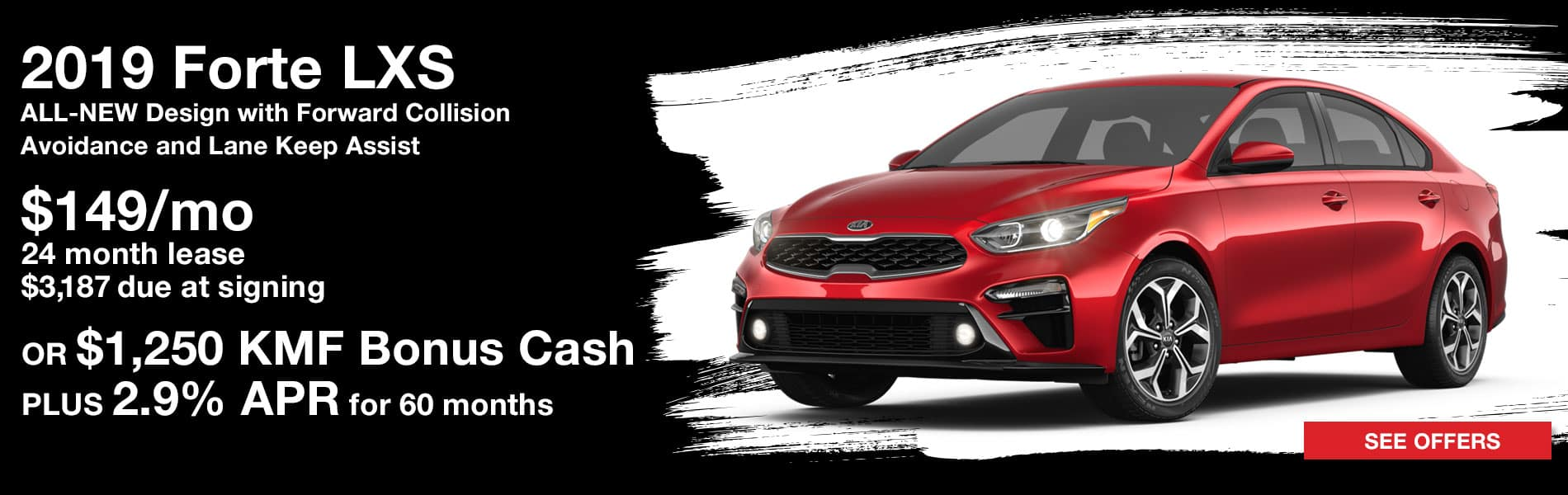 Lease a 2019 Forte LXS for $149 per month with $3,187 due at signing