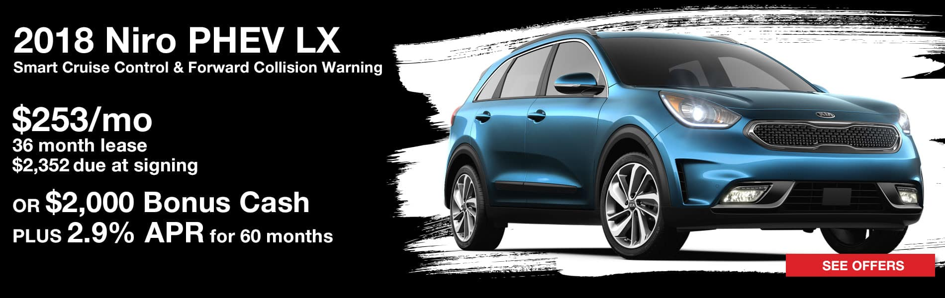 Lease a 2018 Niro PHEV LX for $253 per month with $2,352 due at signing