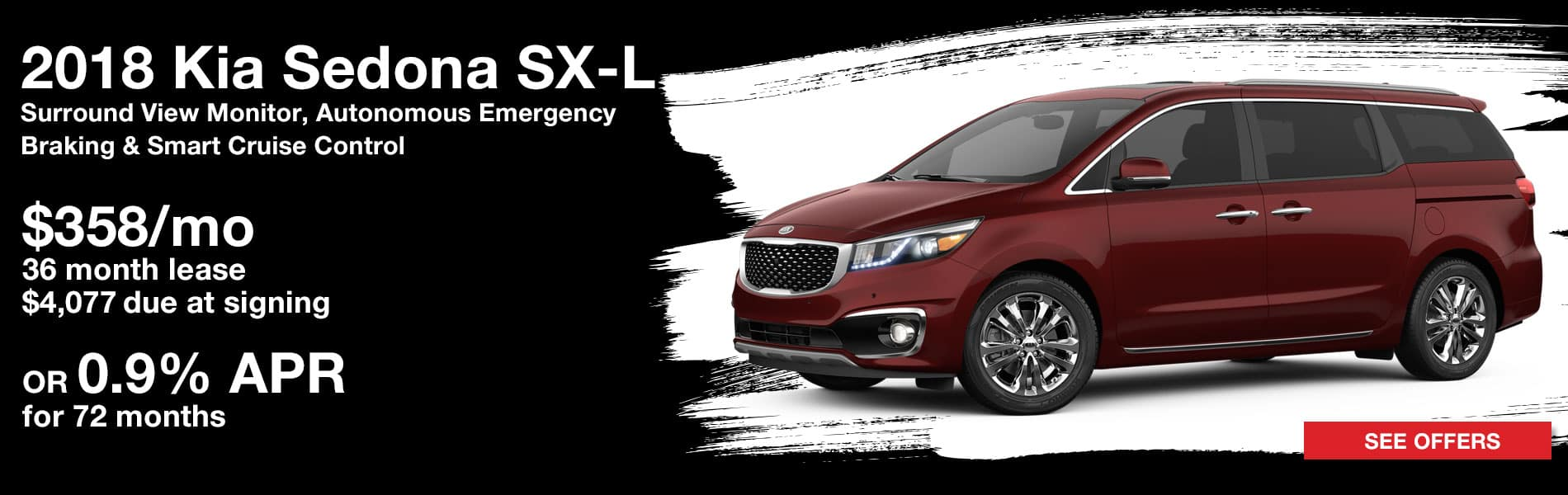 Lease a 2018 Kia Sedona SX-L for $358 per month with $4,077 due at signing