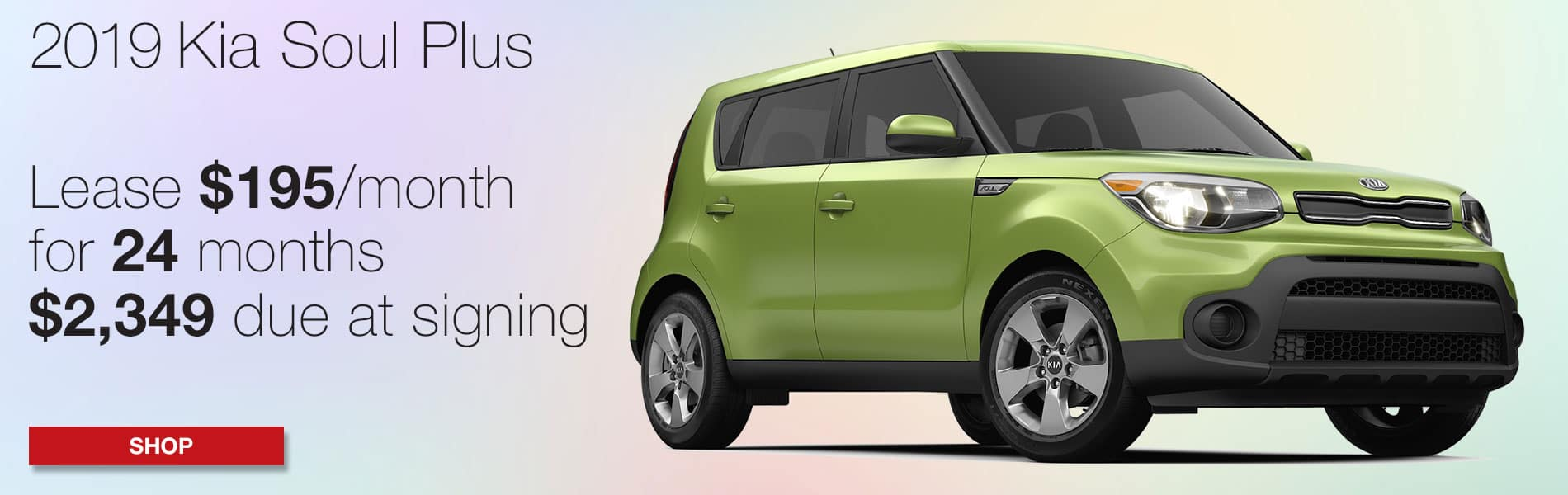 Lease a 2019 Kia Soul Plus for $195 per month with $2,349 due at signing