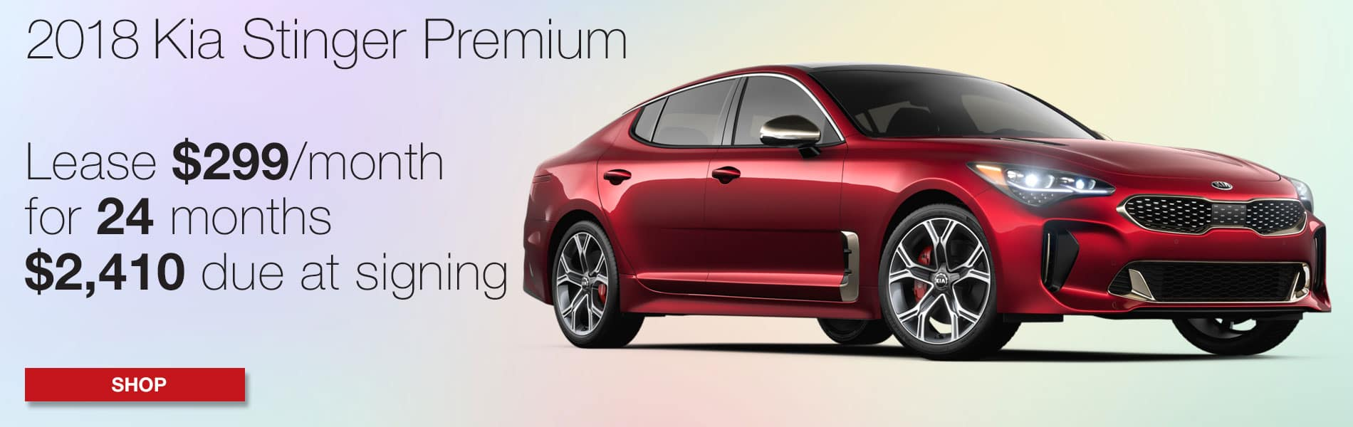 Lease a 2018 Kia Stinger Premium for $299 per month with $2,410 due at signing