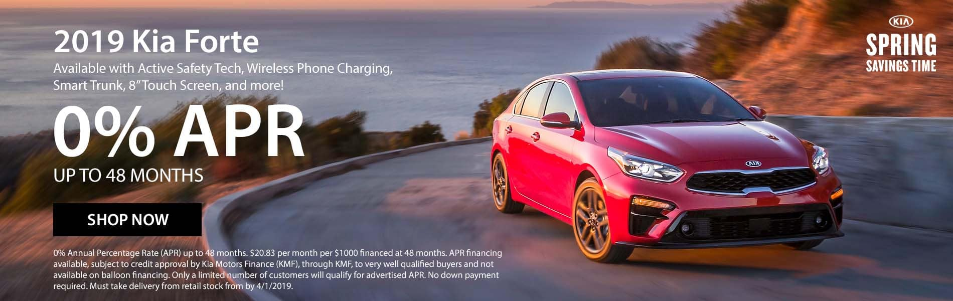Lease a 2019 Kia Forte LXS for $99 per month with $2,356 due at signing or get 0% APR up to 48 months