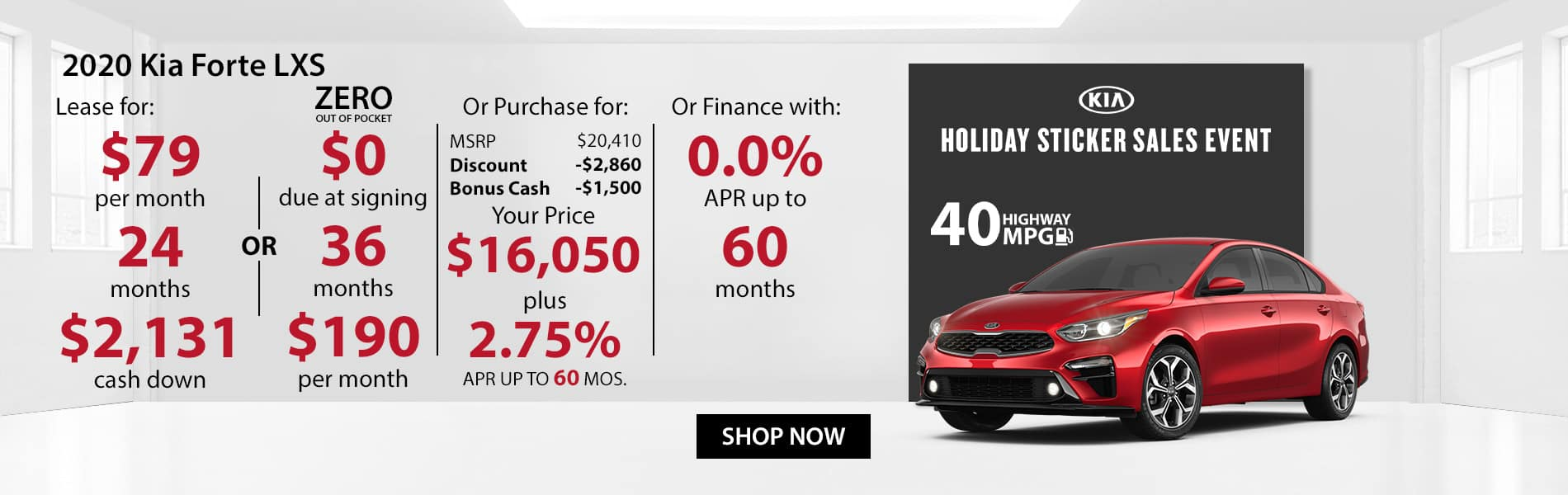 Special offer on 2020 Kia Forte LXS Lease for $79 with $2,131 down or Purchase for $16,050 with 2.75% APR or get 0% APR for 60 months.